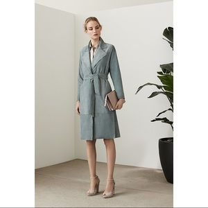 Reiss Maine Suede Leather Trench Coat.